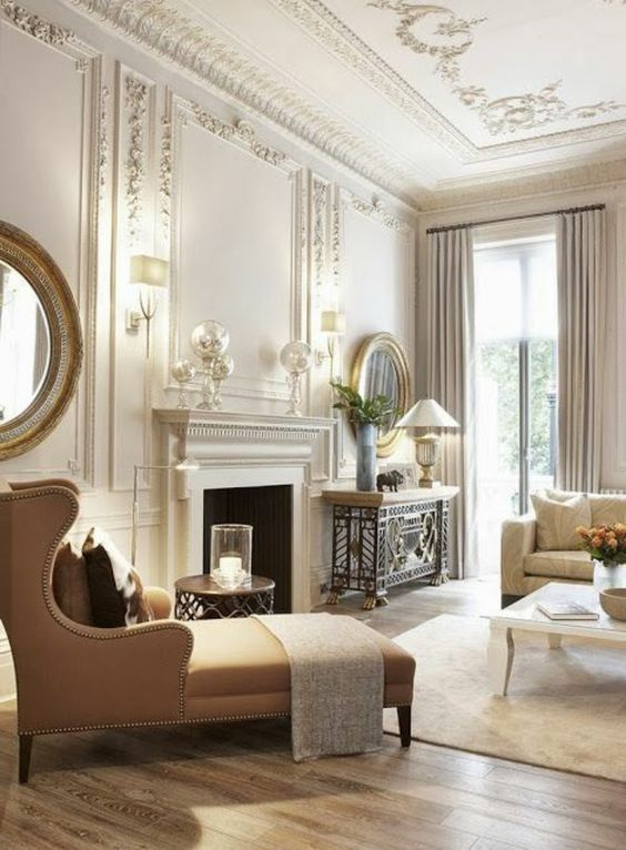 Baroque Living Room Ideas With Fireplace