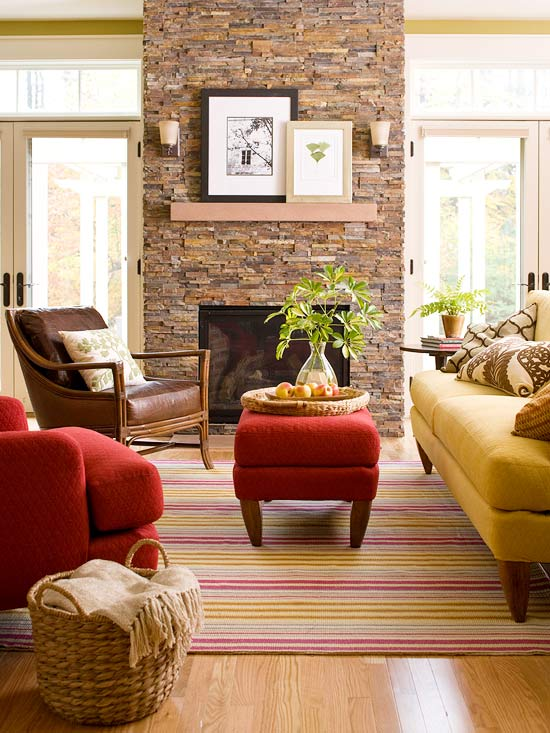 Living room in fall colors with fireplace #falldecor #falldecorideas #livingroom #autumndecor #homedecor #decorhomeideas
