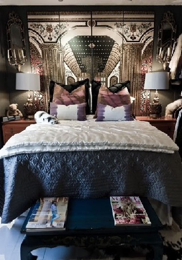 Stunning royal headboard in dark colors