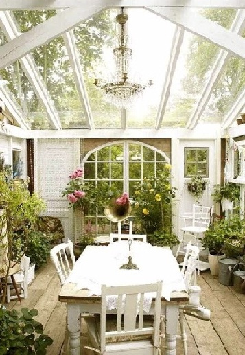 All-white sunroom