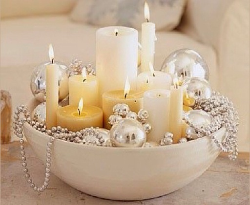 Candles and Christmas ornaments