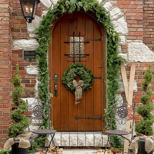 Wreath and topiaries