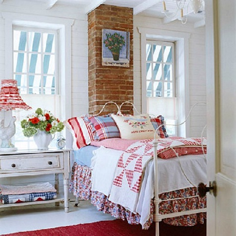 Cottage bedroom in white, blue, and red