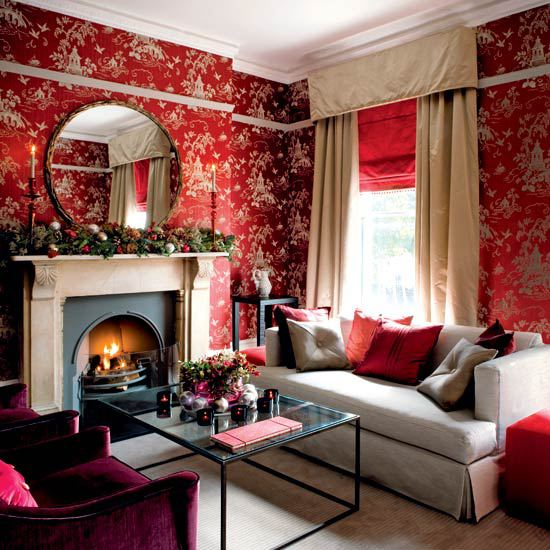 Living room with red wallpaper