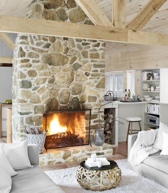 White mortar fireplace