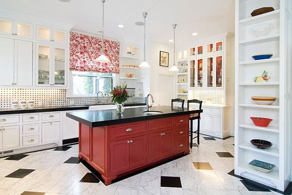 Kitchen in white, black, and red
