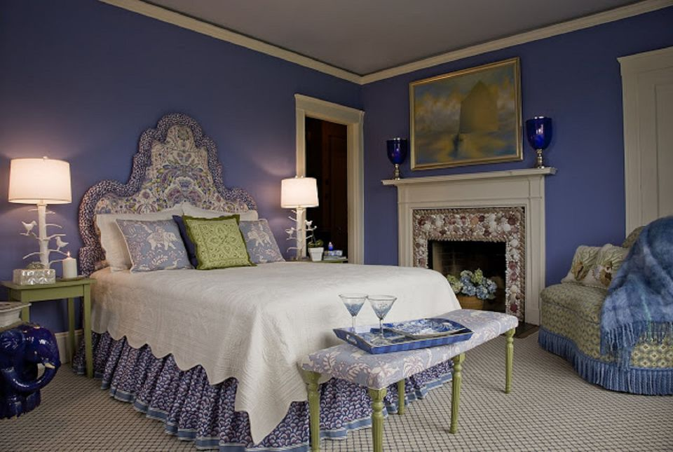 Bedroom in blue, green, and purple