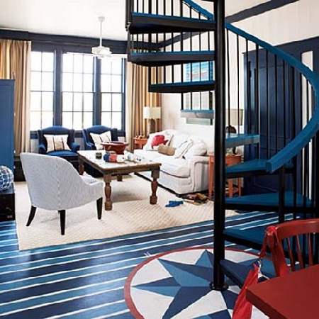 Living room in red, white, and blue