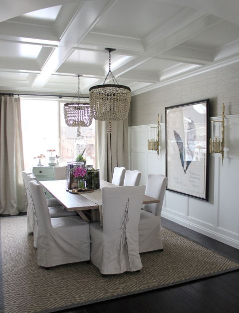 Crisp white traditional coffered ceiling