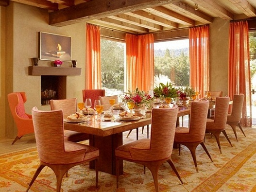 Dining room in orange