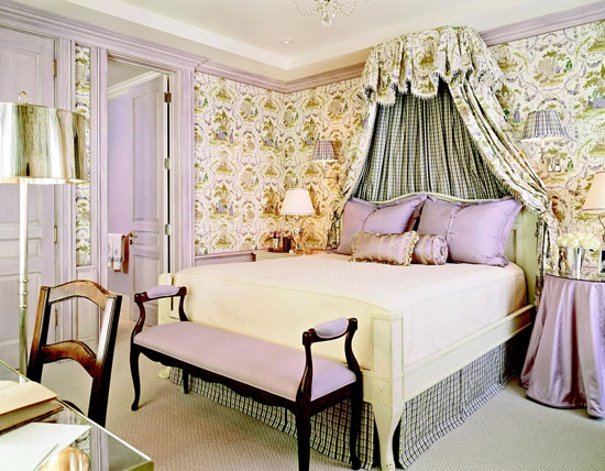 Toile wallpaper and canopy