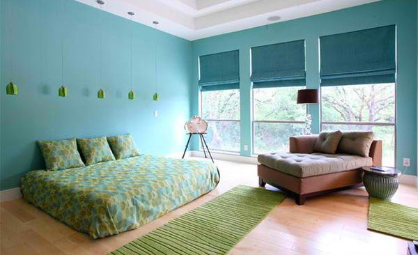 Bedroom in blue and green #bedroom #modern #decorhomeideas