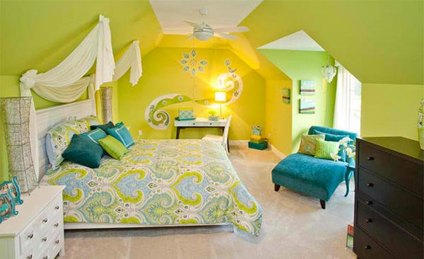 Bedroom in lime green and blue #bedroom #decorhomeideas