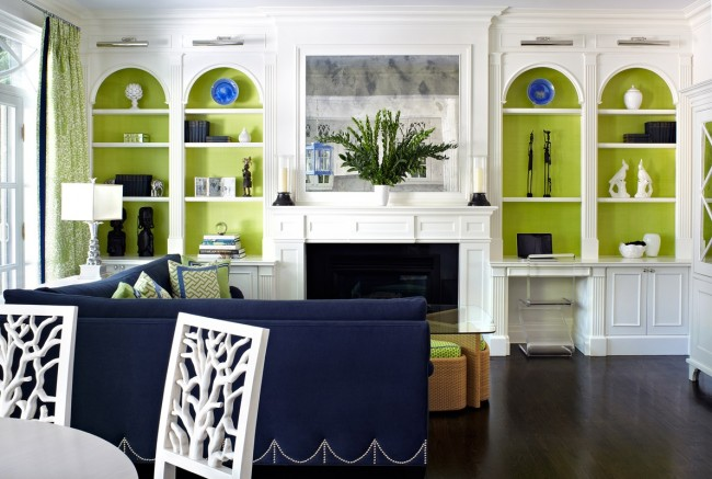 Blue and apple green wall furniture for a living room #livingroom #furniture