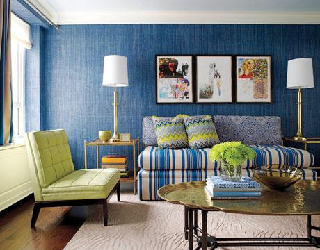 Living room in blue and green #livingroom