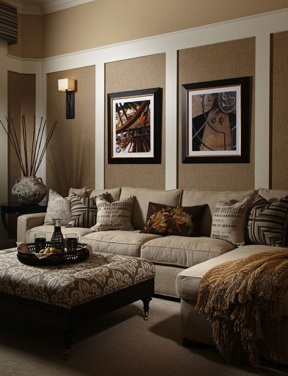 Living room in brown and beige