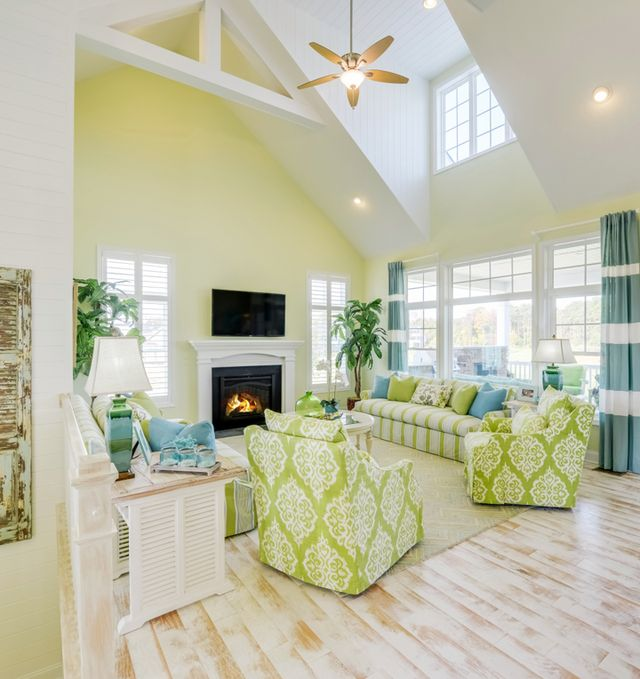 Living room in lime green and yellow #livingroom