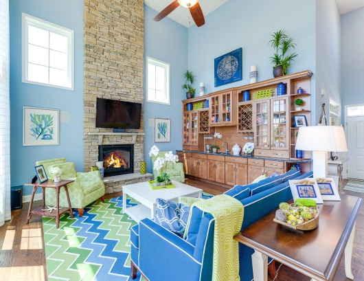 Living room with a coastal vibe #livingroom #coastaldecor