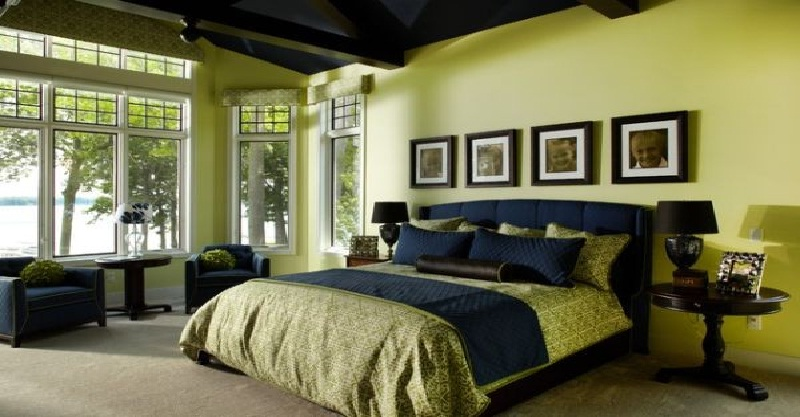 Indigo and citron color combo bedroom interior #bedroom #homedecor #decorhomeideas