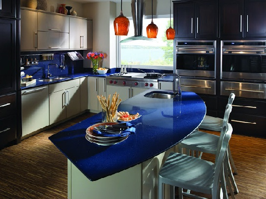 Blue countertops