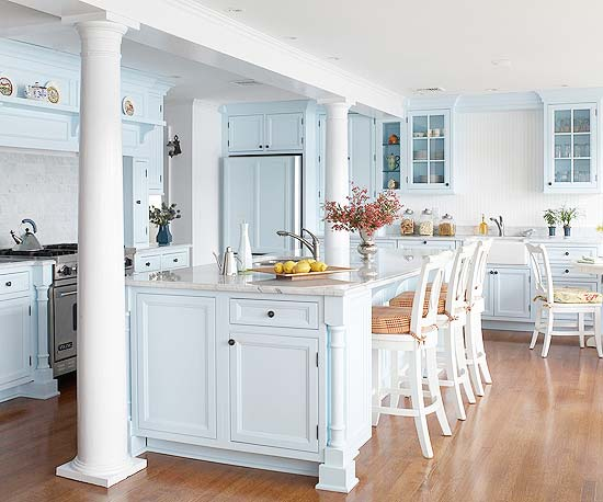 Pastel blue island and cabinetry