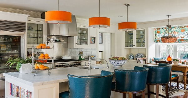 Kitchen in orange and blue