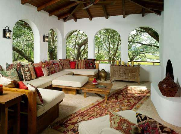 Arched windows add a Middle eastern touch.