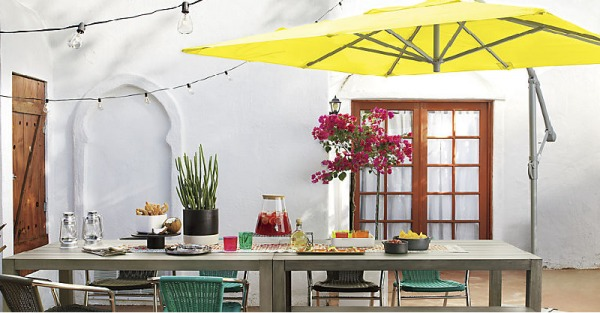 Alfresco dining under an umbrella