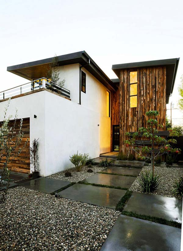 Modern Stucco Homes. Japanese-style yard