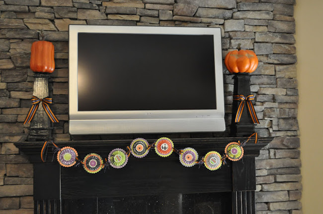 your tv is placed above the fireplace mantel no problem work around it with your halloween decor