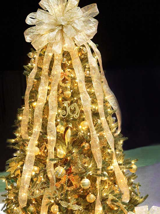 Sheer bow Christmas tree topper