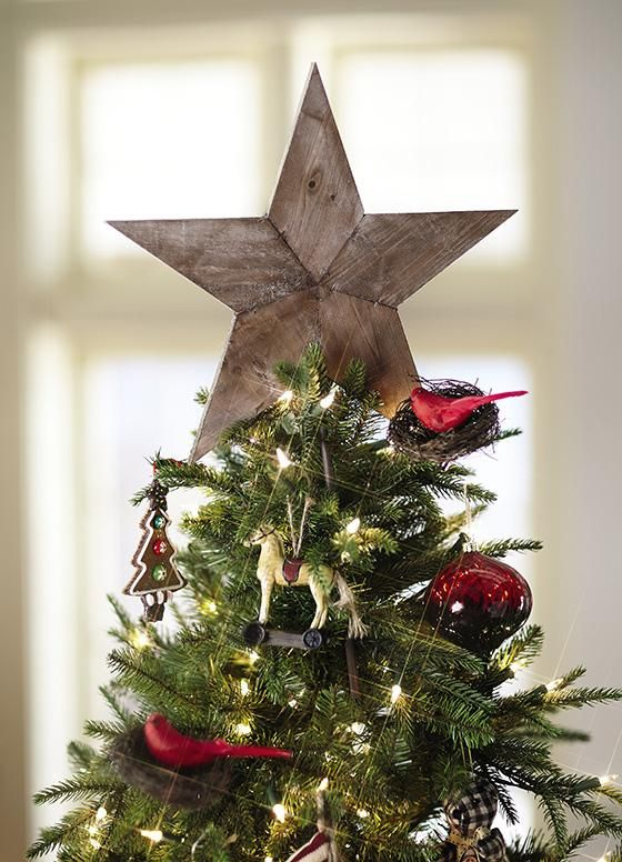 Wooden star Christmas tree topper
