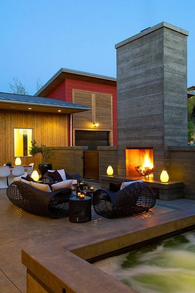 Modern patio with fireplace #fireplace #outdoor #homedecor #garden #patio #decorhomeideas