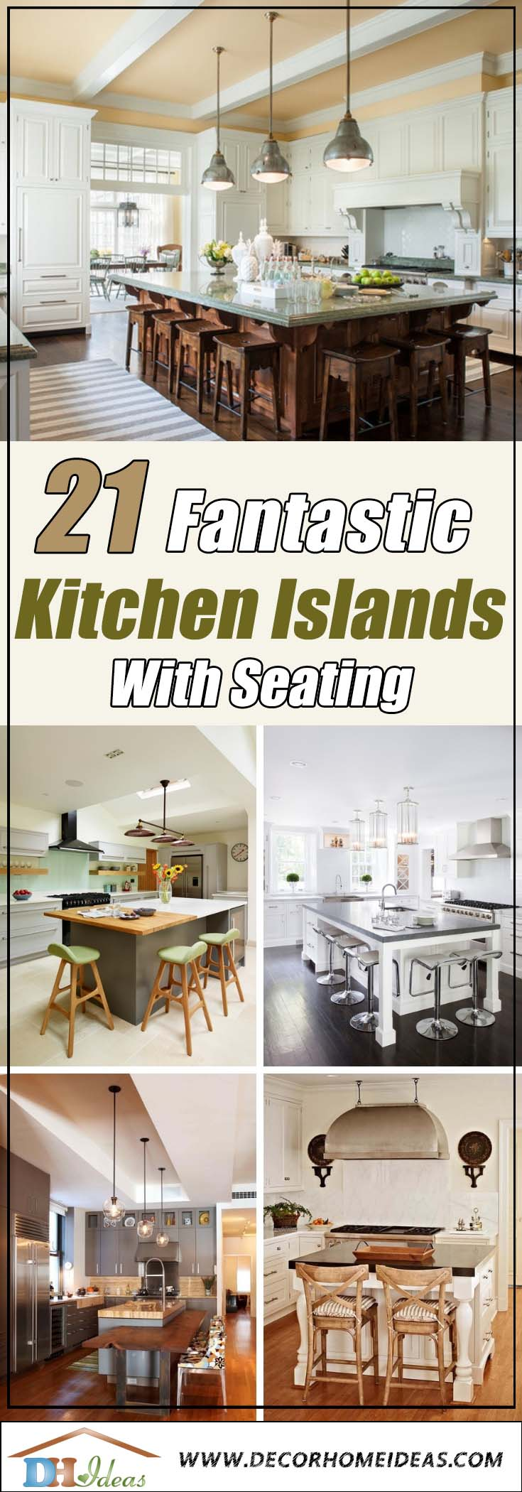 21 Kitchen Islands With Seating You'll Never Stop Dreaming Of | Great kitchen islands with seating to create comfort and coziness #kitchen #furniture #interiordesign #kitchenisland #seating #homedecor #decorhomeideas