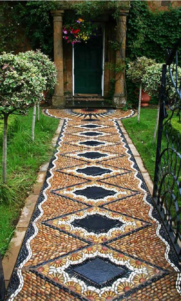 Amazing mosaic pebbles pathway #garden #diy #gardenideas #pathway #alley #gardening #landscaping #outdoordesign #backyard #decorhomeideas