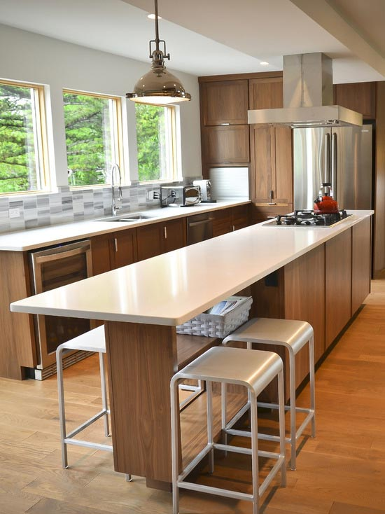 Contemporary kitchen island with seating
