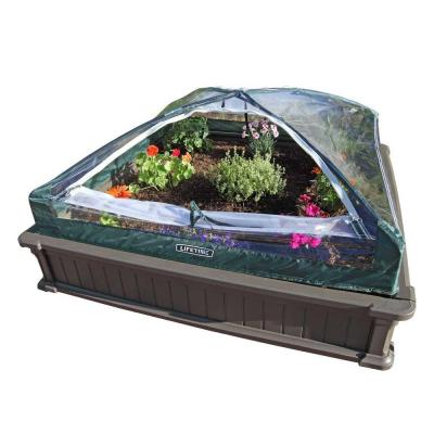 Raised garden bed with tent
