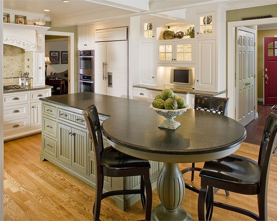 Round kitchen island #kitchen #furniture #interiordesign #kitchenisland #seating #homedecor #decorhomeideas