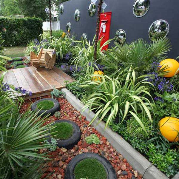 Used tires for garden pathway