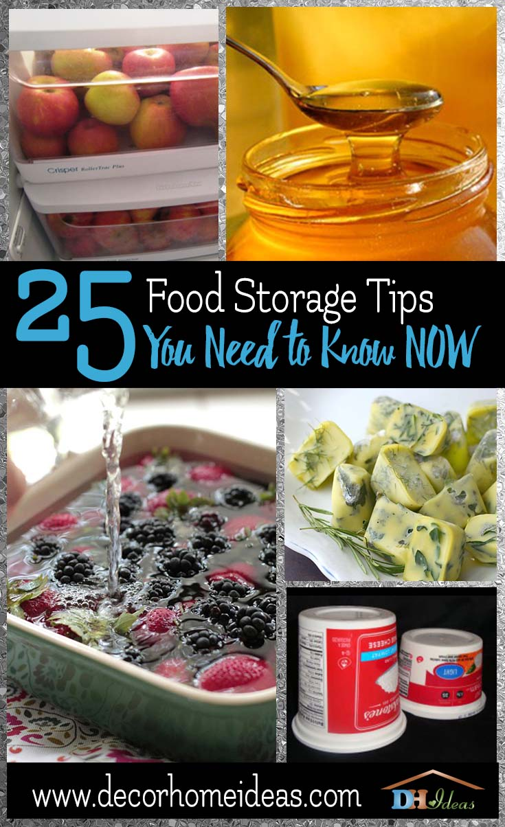 25 Food Storage Tips You Need To Know Now | Don't let your food to get wasted, get ideas and tips on storage. #storage #food #tips #kitchen #decorhomeideas