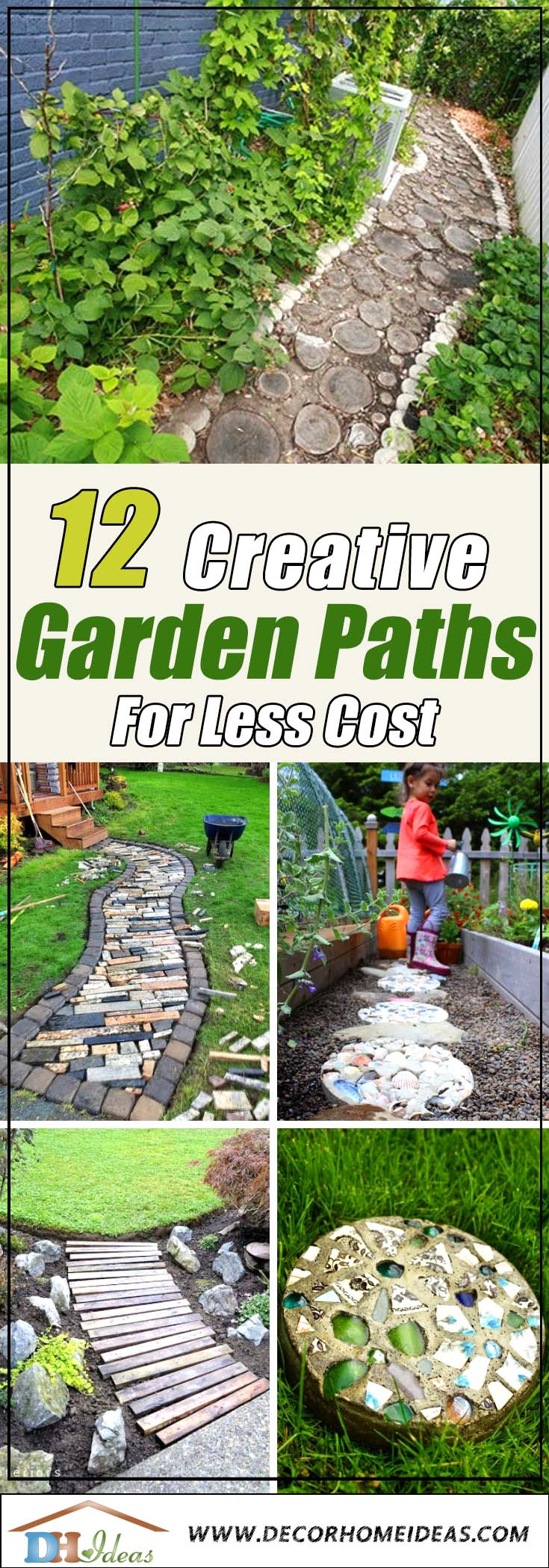 12 Creative Garden Paths For Less Cost You Might Expect | Amazing garden pathways made of stones and rocks #gardens #gardening #diy #gardenideas #gardeningtips #decorhomeideas