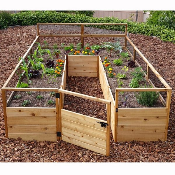 Raised garden bed with wire mesh screened frame