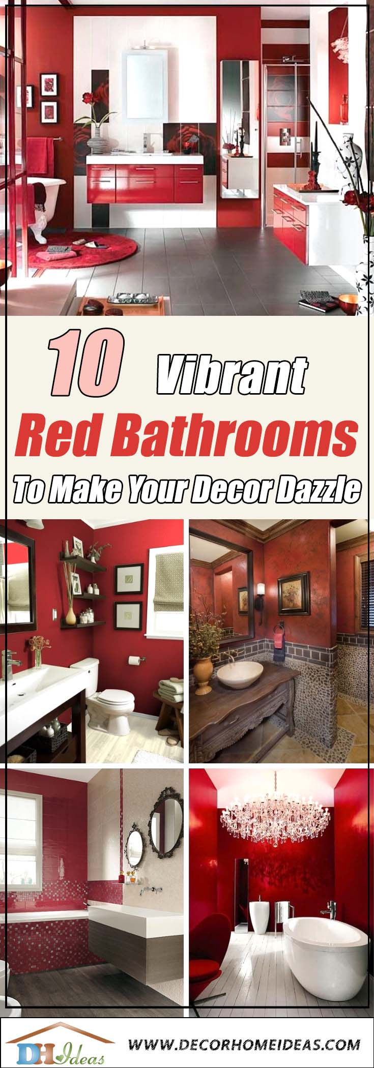 10 Vibrant Red Bathrooms To Make Your Decor Dazzle | Bold colored bathrooms in red #redbathroom #bathroom #bathroomdesign #bathroomideas #bathroomreno #bathroomremodel #decorhomeideas