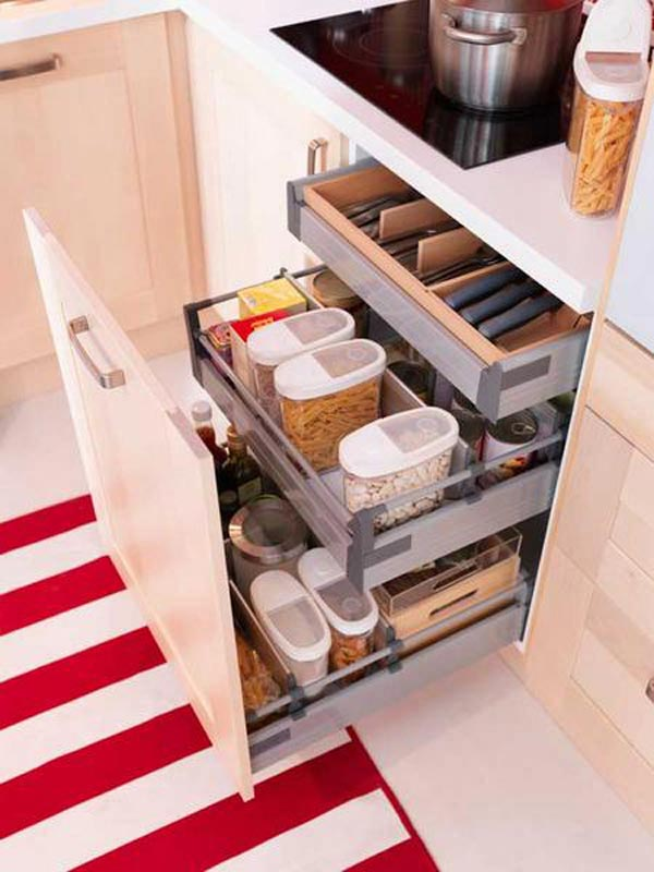 Storage Idea with sleek drawer #kitchen #storage #organize #organization #decor #homedecor #decoratingideas #decorhomeideas