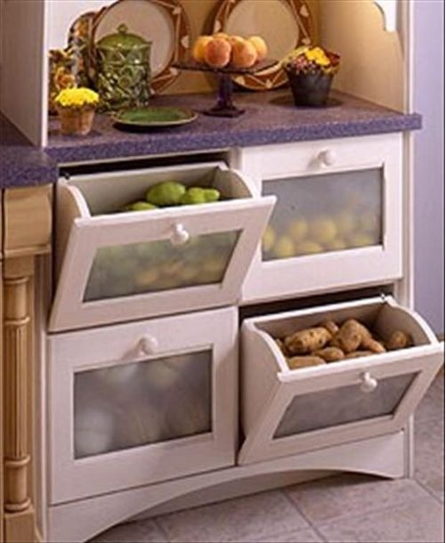 Vegetable and Fruit Kitchen Storage #kitchen #storage #organize #organization #decor #homedecor #decoratingideas #decorhomeideas