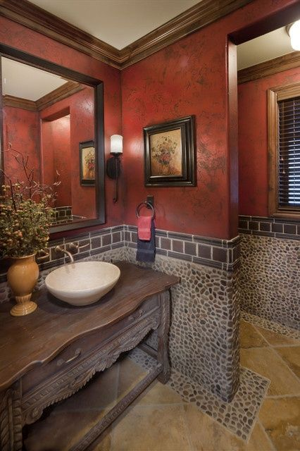 Charcoal black pebble red bathrooms #redbathroom #bathroom #bathroomdesign #bathroomideas #bathroomreno #bathroomremodel #decorhomeideas
