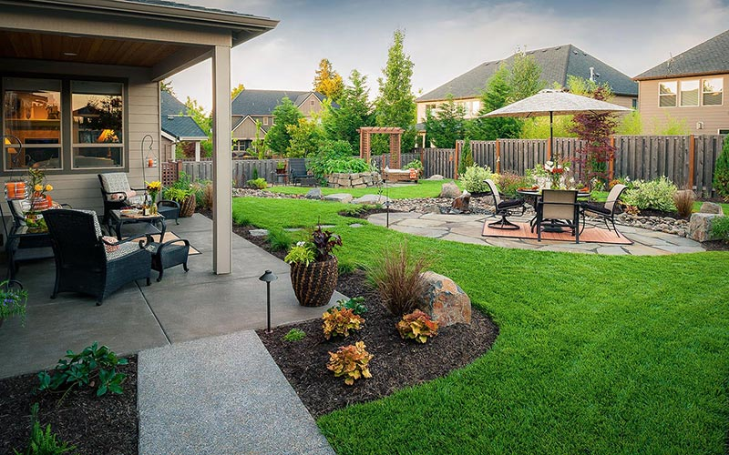 Creative patio design with garden