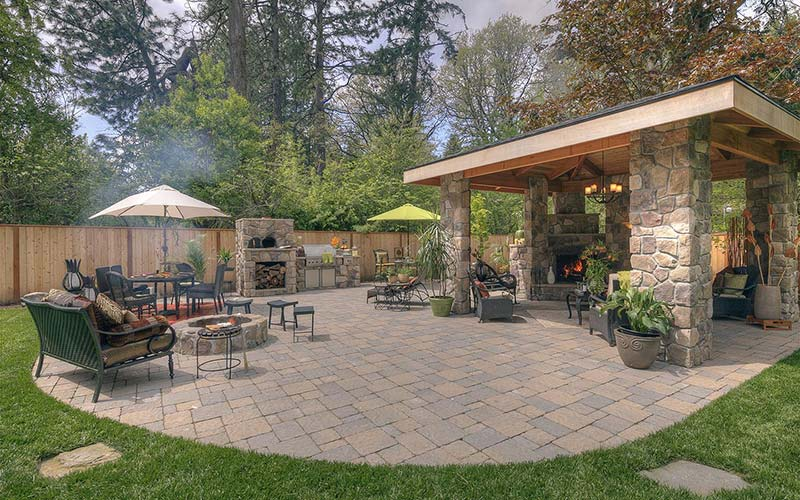 Great patio with fire pit and bbq