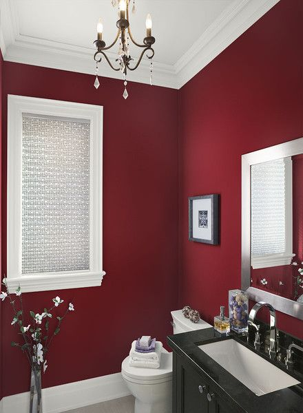 Red bathroom with black vanity #redbathroom #bathroom #bathroomdesign #bathroomideas #bathroomreno #bathroomremodel #decorhomeideas