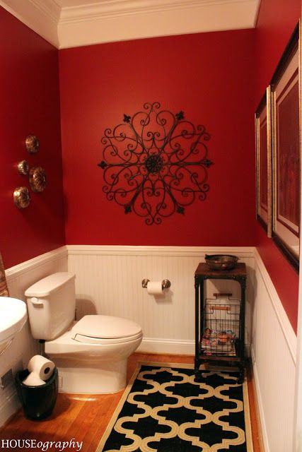 Red bathroom with gorgeous wall decoration #redbathroom #bathroom #bathroomdesign #bathroomideas #bathroomreno #bathroomremodel #decorhomeideas